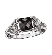 Sterling Silver Genuine Black Sapphire Ring