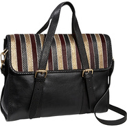 Channel Mixed Media Flap Satchel Multi Black Combo