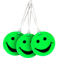Set of 3 Neon Smiley Face Luggage Tags