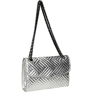Metallic Line Quilted Affair Shoulder Bag Silver -