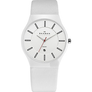White Ceramic & Leather Watch White - Skagen Watch
