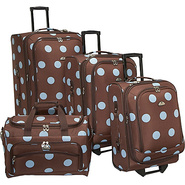 Grande Dots 4-Piece Luggage Set Brown/Blue - Ameri