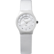 White Leather & Ceramic Women's Watch White - Skag