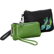 Head Over Heels-Embroidered Wristlet and Green Dou