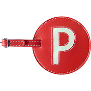 Leather Initial &#39;P&#39; Luggage Tag Set of 2 Red - pb 