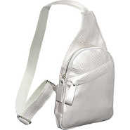 Textured Mini Messenger Bag - Silver