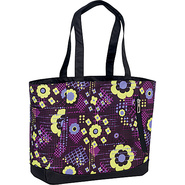 Shelby Tote - Electric Flowers, Black