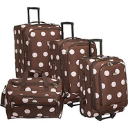 Grande Dots 4-Piece Luggage Set Brown/Pink - Ameri