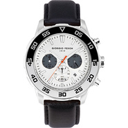Sea Timer Men's Watch - Leather Silver - Giorgio F