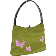 Butterfly Handbag With Wooden Handle - - Shoulder