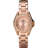 Fossil Ladies Rose Gold Mini Riley 3-Hand Analog