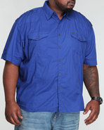 Men Poplin Military Shirt (B&T) Blue 3X