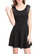 Women Skater Dress W/Open Back Detail Black Small