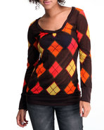 Women Argyle Print Long Sleeve Knit Top Orange Sma