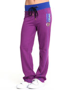 Women Straight Leg Active Fleece Pants Purple Smal
