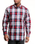 Men Poplin Wide Plaid Button-Down Shirt Red Medium