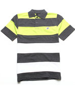 Boys Striped Cut & Sew Polo (8-20) Charcoal 12/14