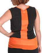 Women Chiffon Sleeveless Top (Plus) Orange 1X