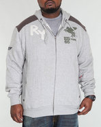Men Zip Front Fleece Hoodie (B&T) Grey 3X-Large
