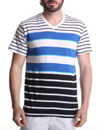Men Stripe V-Neck Tee Blue Xx-Large