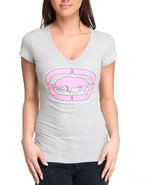 Women V-Neck Tee Grey Large