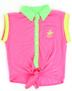 Girls Neon Tie Front Top (7-16) Pink 14/16 (L)