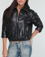 Women Zip Front Ruched Sleeve Perforated Jacket Bl