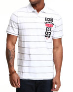 Men Left Crest Numeral Polo White Medium