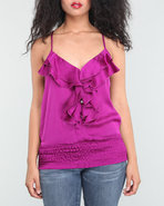 Women Ruffle Front Cami Purple Large