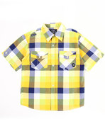 Boys Plaid Woven Shirt (8-20) Lime Green Medium