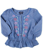 Girls Chambray Blouse (7-16) Medium Wash 7 (S)