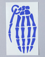 Men Skeleton Grenade 4  Die Cut Sticker Blue