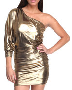 Women One Shoulder Foil Dress Gold Small