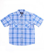 Boys Basic Plaid Woven Shirt (8-20) Blue Medium