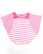 Girls Striped Cape Top W/ Lace (7-16) Pink 7/8 (S)