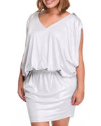 Women Dolman Tie Waist Dress (Plus) Silver 1X