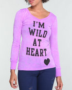 Women Printed Neon Long Sleeve Burnout Purple Larg