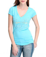 Women Teardrop Ab Logo V-Neck Tee Blue Medium
