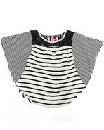 Girls Striped Cape Top W/ Lace (7-16) Black 10/12 