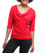 Women Mixed Fabric Sweater With Lace Top Red Small