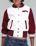 Women Members Only Varsity Jacket Red Large