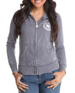 Women Lightweight Burnout Hoodie Grey Medium