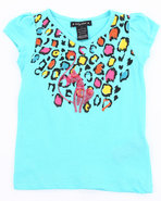 Girls Animal Print Tee (4-6X) Light Blue 4