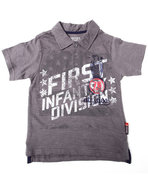 Boys Graphic Slub Polo (4-7) Grey 7 (L)