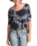 Women Hi-Lo Flower Knit Top Black Medium