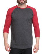 Men Single Jersey Baseball Raglan 3/4 Sleeve Shirt