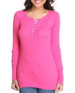 Women Long Sleeve Ribbed Loungewear Top Pink X-Lar
