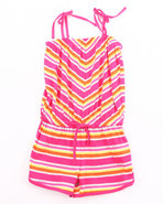 Girls Chevron Stripe Romper (7-16( Pink 7/8 (S)