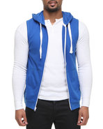 Men French Terry Sleeveless Zup Up Hoodie Blue Xx-