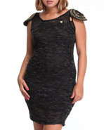 Women Beaded Cap Sleeve Sweater Heather Hacci Dres